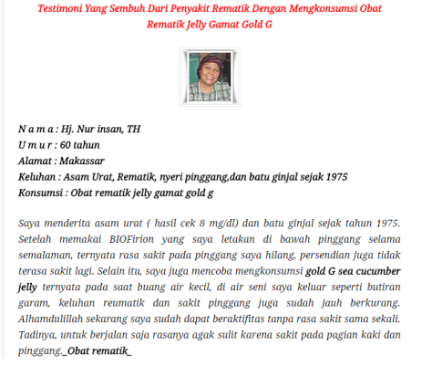 Obat Herbal Rematik Jelly Gamat Gold-G