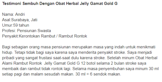 Obat Herbal Rambut Rontok Jelly Gamat Gold-G