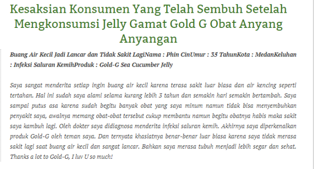 Obat Herbal Anyang-Anyangan Jelly Gamat Gold-G